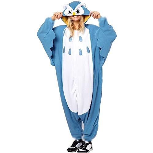 Anbelarui Jumpsuit Tier Pyjama EuleOnesie Fasching Halloween Kostüm Schlafanzug Eule Cosplay Pyjama Erwachsene Damen Karneval Einteiler (Medium)