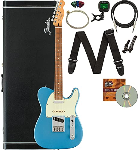 Fender Player Plus Nashville Telecaster Electric Guitar, Pau Ferro Bundle with Hard Case, Stand, Cable, Tuner, Strap, Strings, Picks, Capo, and Austin Bazaar Instructional DVD - Opal Spark