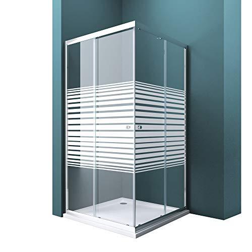 Duschwand mit Doppel-Schiebetür 80x80 cm Eckeinstieg Echtglas Lotuseffekt Duschkabine ESG-Sicherheitsglas Ravenna16MS