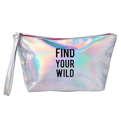 Travel Cosmetic Bag_Ladies Square Cosmetic Bag Portable Travel Cosmetic Bag Laser Wash Wash, Silver