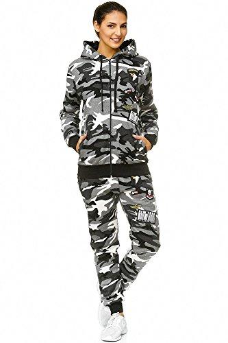 Violento Damen Jogging-Anzug USA-Patches 685 (L-fällt groß aus, Grau-Camouflage)