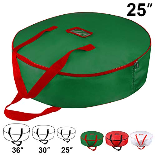 Christmas Wreath Storage Bag - Xmas Large Wreath Container - Reinforced Wide Handle and Double Sleek Zipper - Heavy Duty Protect Your Holiday Advent, Garland, Party Decorations and Ornaments 25',Green