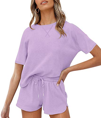 ZESICA Women's Waffle Knit Pajama Set Short Sleeve Top and Shorts Loungewear Athletic Tracksuits with Pockets Purple