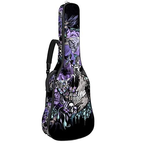 Bolsa para guitarra con diseño de calaveras, color morado y acolchado para...
