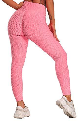 FITTOO Leggings Push Up Mujer Mallas Pantalones Deportivos Alta Cintura Elásticos Yoga Fitness RosaL