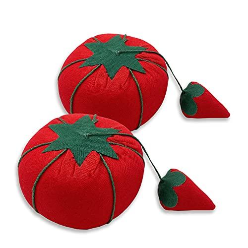 MARARDI 2 Piezas de Alfiletero [Tomate Rojo] Acerico Acolchado Cojín para Alfileres Accesorio Algodón Portátil para Costura Artesanía Manualidades Bricolaje