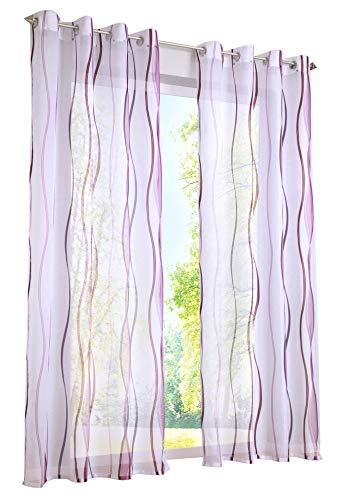 BAILEY JO 1er-Pack Gardinen mit Wellen Druck Design Vorhang Transparent Voile Vorhänge (BxH 140x145cm, violett mit Ösen)