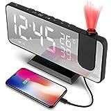Reloj Despertador Digital, Radio Despertador Proyector, Despertador de Espejo de Moda con Alarma Dual, 4 Brillo de Pantalla Ajustable, 8 Pantalla, Rotación de 180 °, Cable USB de 1.5 m, FM Radio