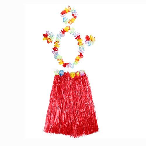 thematys Juego de Disfraces de Hawai en 8 Colores Diferentes - Falda de 4 Piezas, Corona Floral para la Cabeza, Cuello y muñecas - para Adultos (Style 8)