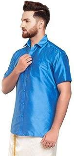 SJS-Men's Half Sleeve Solid Art Silk Shirt (Blue, 36)