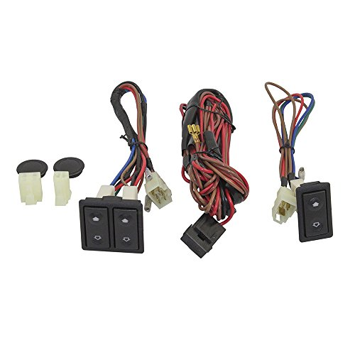 Universal Power Window Switch Kit Rocker Design with Bezels, Switch & Wiring Harness for 2-Door Pickup Truck SUV Van Car