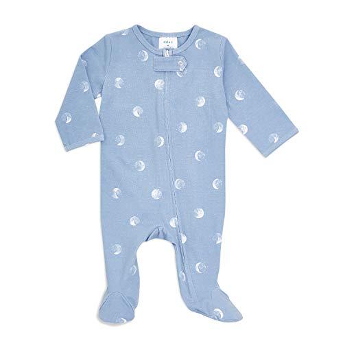 aden + anais Baby Comfort Footie - Pijama de manga larga para bebés, recién nacidos y recién nacidos – Body de algodón súper suave rico, 0 – 3 meses, luna azul