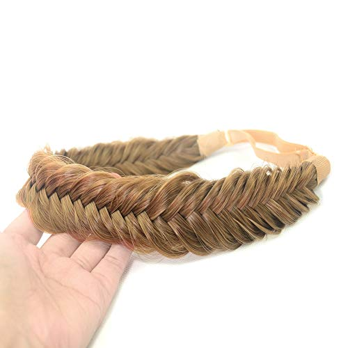 DIGUAN Wide Fishtail 2 Strands Synthetic Hair Braided Headband Classic Chunky Plaited Braids Elastic Stretch Hairpiece Women Girl Beauty accessory,59g Bohemian (Caramel Brown)