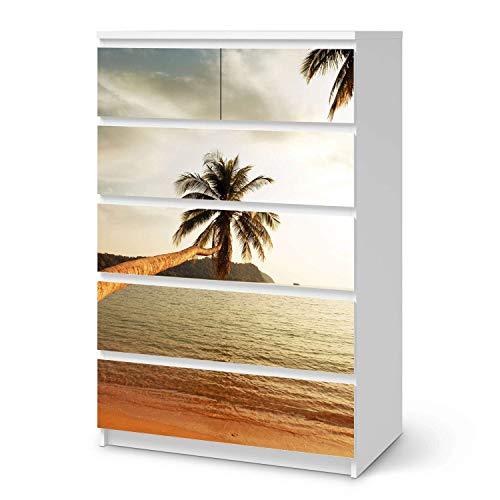 creatisto Möbelfolie passend für IKEA Malm Kommode 6 Schubladen (hoch) I Möbeldeko - Möbel-Folie Tattoo Sticker I Wohn Deko Ideen für Wohnzimmer, Schlafzimmer - Design: Paradise