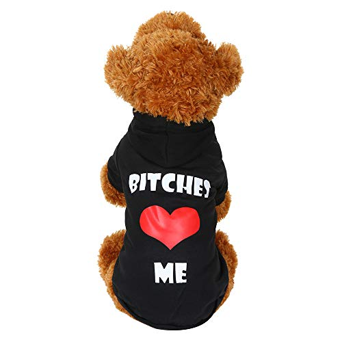 Amphia - Fleece-Kapuzenpullover,Hundehaustier Kleidung Hoodie Warme Sweatshirts Puppy Coat Apparel(Schwarz,M)