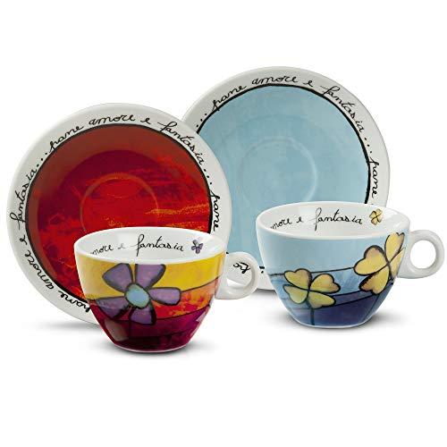 Egan PAF12/1S Lot de 4 Tasses à Cappuccino, Porcelaine, Rouge/Bleu Ciel