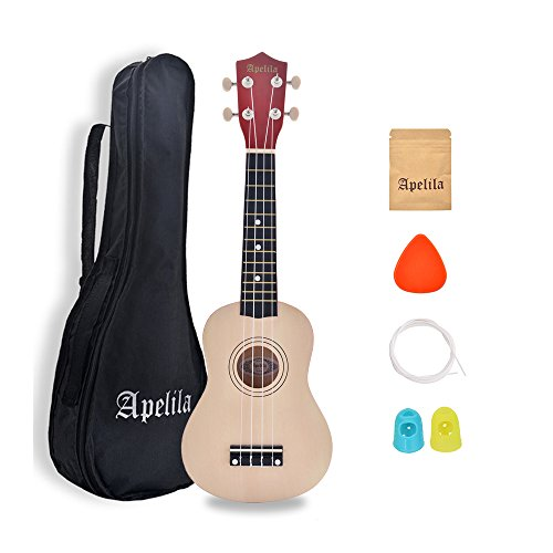 Apelila 21 inch Soprano Ukulele Hawaiian Acoustic Mini Guitar Musical Instrument with Bag, Pick, Strings, for Beginner, Kid, Starter, Amateur (Natural)