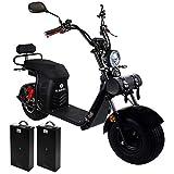Rolektro E-Cruiser 45 km/h Elektroroller - 100 km E-Chopper Scooter mit 2 Lithium-Akkus - 1500W E-Roller mit Straßenzulassung für 2 Personen