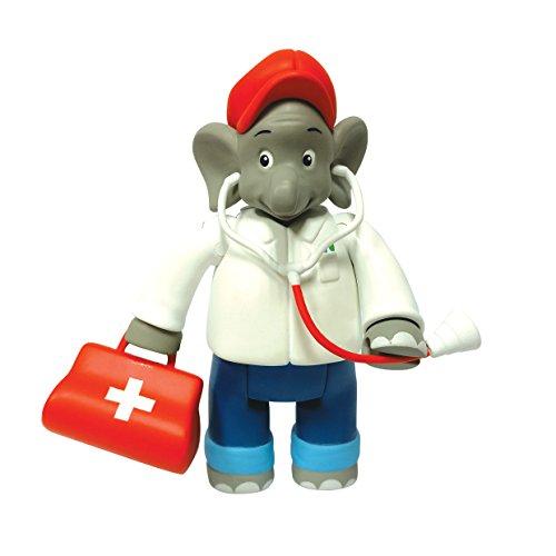 Benjamin Blümchen Figur als Arzt 10803, bewegliche Spielfigur ca. 9 cm groß, detailgetreue Gestaltung, mit tollen Accessoires von Jazwares