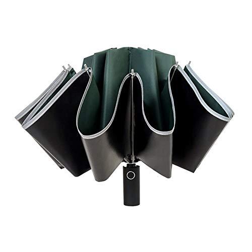 TTHXQ Paraguas automático plegable inverso paraguas LED reflectante tira automática paraguas linterna Tri-fold viento coche negocio paraguas apertura automática y cierre negro plegable paraguas 5