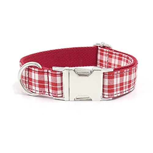 ZZCR Collares para Perros Mascotas Collares De Cuadros Rojos Collares Disponibles De Cuatro Estaciones Ajustables De Varios Tamaños Collares De Fiesta De Varias Escenas Cuadros Rojos XL