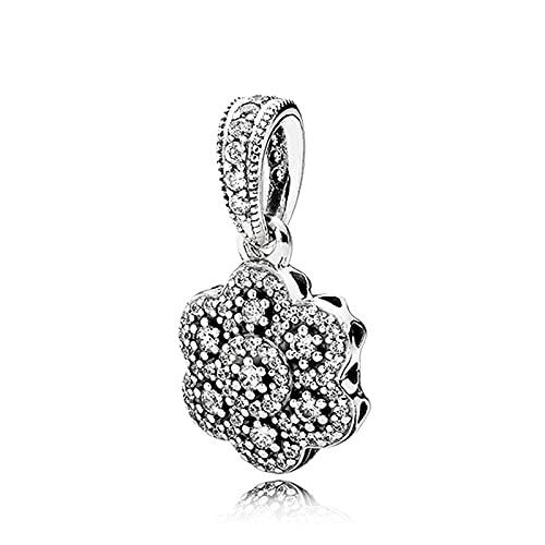 LIIHVYI Pandora Charms para Mujeres Cuentas Plata De Ley 925 Floral Cristalizado En Hielo Compatible con Pulseras Europeos Collars