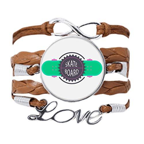 DIYthinker Sport Skateboard con lemas de dibujos animados acuarela, pulsera de amor, cadena de amor, adorno de cuerda de regalo