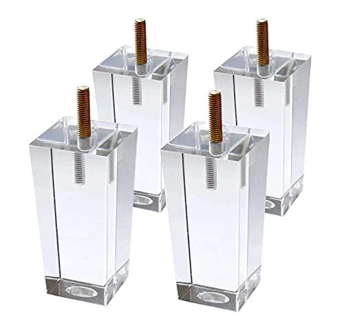 HJGK Patas De Sofá De Acrílico Patas De Muebles De Cristal Decoración Transparente Moderna Patas De Bricolaje Patas De Gabinete Simples Cónicas Cuadradas,Crystal,12cm