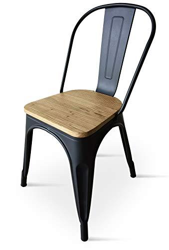 Kosmi - Chaise Noire en métal et Bois Clair Style Industriel Factory en métal Noir Mat et Assise en Bois Clair