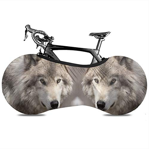Un oso y la naturaleza interior portátil cubierta de bicicleta interior anti polvo de alta elasticidad cubierta de rueda de bicicleta protectora Rip Stop neumático carretera mtb bolsa de almacenamiento, Un lobo de madera solitario, talla única