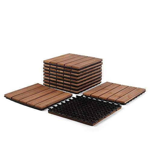 """Partuys Flooring Hardwood Deck Ourdoor Patio Solid Wood Tile Flooring, Interlocking Wood Composite for Outdoor & Indoor, Stripe Pattern 12 x 12""""-11 PCS"""