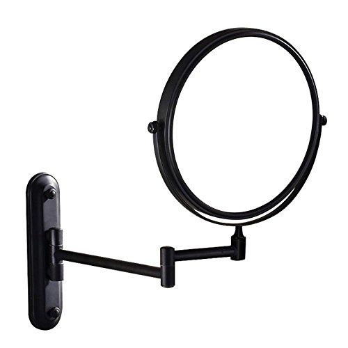 """Badezimmer Rasierspiegel Drehspiegel Badezimmer Schminkspiegel Klappbar Kreativ Kosmetikspiegel Zwei-Wege-Spiegel Lupe,Black-8""""(10X)"""