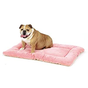 Pet Dreams Dog Crate Bed – Original Crate Pad/ Kennel Mat – Quality Bedding Since 1999, Ultra Soft, Reversible, Portable & Washable Pad That Never Bunches! X-Small 19″ Pink
