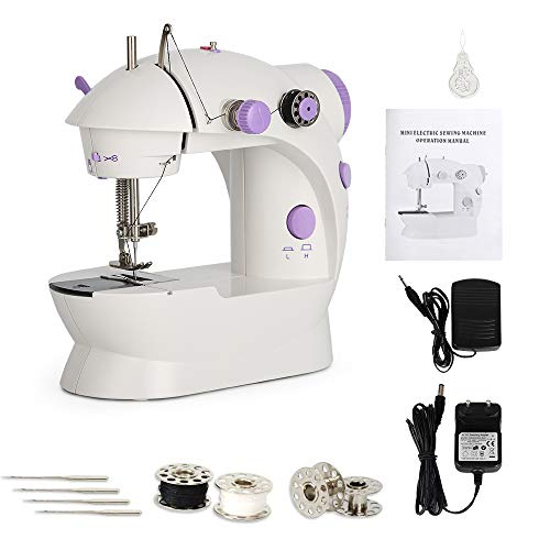 Mini Sewing Machine Portable Sewing Machine Electric Sewing Kit Crafting Mending Machine with Dual Speed Double Thread