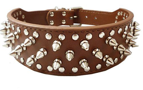 Dogs Kingdom Brown Faux Leather Spiked Studded Dog Collar 2' Wide Pet Collar Pitbull Boxer