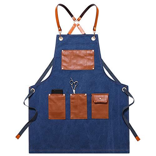 Delantal Trabajo, Delantal de Cocina Ajustable Mandil de Lona Duradero para Cocinero Camarero Servidores Baristas, con Bolsillos, para Mujer y Hombre (Color : Blue)