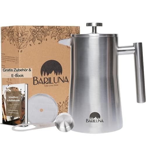 BARILUNA® French Press aus Edelstahl | 1 Liter (5 Tassen) Coffee Press | Doppelwandig isoliert | Kaffeebereiter inkl. Dosierlöffel, Ersatzfilter & E-Book | Kaffeepresse für Camping & Wohnmobil