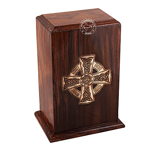 HIND HANDICRAFTS Rosewood Wooden Cremation Urns for Human Ashes Adult - Handcrafted Funeral Memorial Ash Storage Urn - Burial Columbarium (Celtic Cross, 250 Cubic Inches)