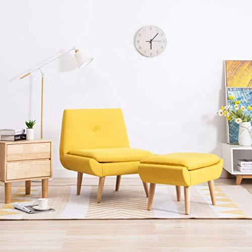 UnfadeMemory Slipper-Stuhl Stoffpolsterung Relaxstuhl Wohnzimmer Sessel Schlafzimmerstuhl Polstersessel Gepolsterte Sitz und Rückenlehne (Gelb, Mit Fußhocker)