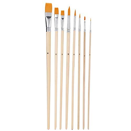 Pssopp 8pcs Flat Paint Brushes Set Multifunctional Artist Nylon Paint Brush for Acrylic Painting Oil Painting Watercolor Painting Gouache Painting