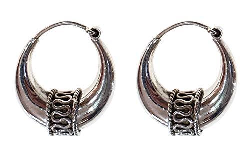TIBETAN SILVER, orecchini a cerchio in argento Sterling 925, etnici, con tribale,fatti a mano, artigianato per donne