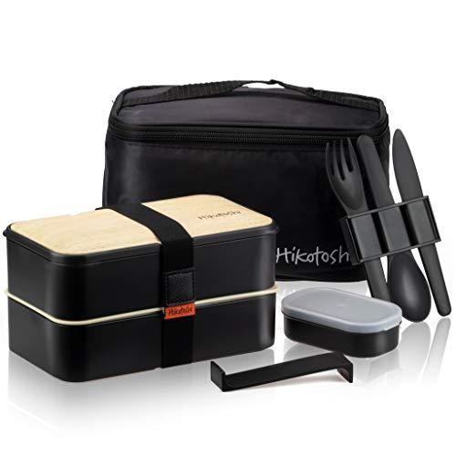 Hikotoshi - Bento, boîte à repas japonaise, hermétique pour adultes enfants avec couverts et sac...