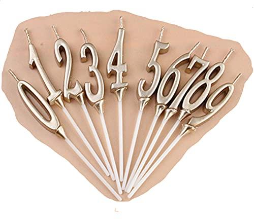 お誕生日キャンドル キャンドル バースデイ 0~9 (各数字1個セット(計10個セット)) シャンパンゴールド