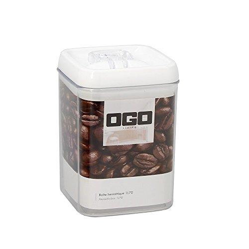 OGO LIVING - Boîte Hermétique Carrée avec Couvercle en plastique blanc Transparent, 1.7 L