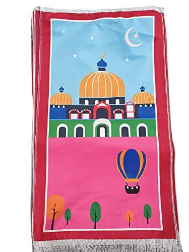 Heißluftballon und Moschee Kinder Kinder Gebetsteppich Teppich islamisch muslimische Cartoon Kinder mein Salah Geschenk Jungen Mädchen mein erstes pädagogisch