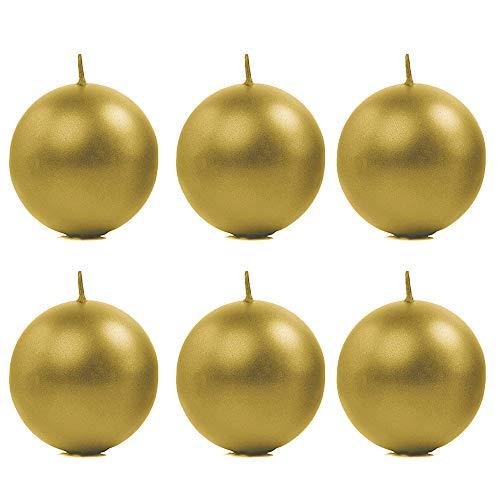 6 Stück Metallische Runde Kerzen in Gold 8cm Kugelkerzen Deko
