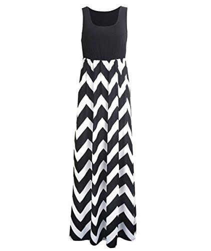 Très Chic Mailanda Sommerkleid Damen Partykleid Lang Chiffon High Waist Striped Sleeveless Beach Kleid Elegant, Schwarz-weiß, S
