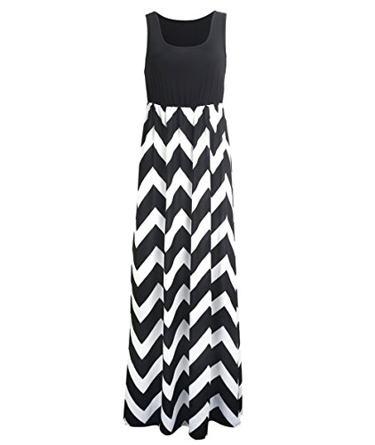 Très Chic Mailanda Sommerkleid Damen Partykleid Lang Chiffon High Waist Striped Sleeveless Beach Kleid Elegant, Schwarz-weiß, M