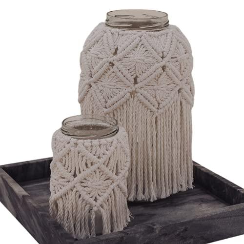 Mia Milano Frascos Decorativo I Farol macramé para Exterior I Boho Deco Beige para Velas y Flores secas (Trenzado, Set)