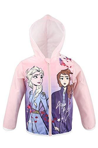 Disney Frozen 2 - Parka Giacca a Vento Leggera Impermeabile Fodera a Rete con Cappuccio e Sacca - Bambina [Rosa - 8 A - 128 cm]